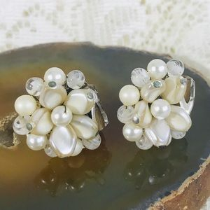 Vintage 50s Japan Pearl Cluster Clip Earrings